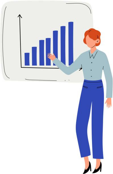 geschäftsfrau, die projektpräsentation hält, mann präsentiert graph auf flip chart vektor-illustration - chefin stock-grafiken, -clipart, -cartoons und -symbole