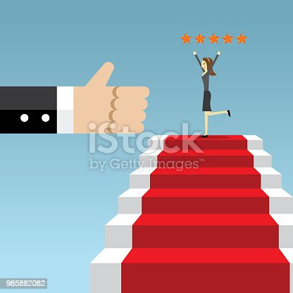 Businesswoman, Staircase, White Collar Worker, Success, First Class