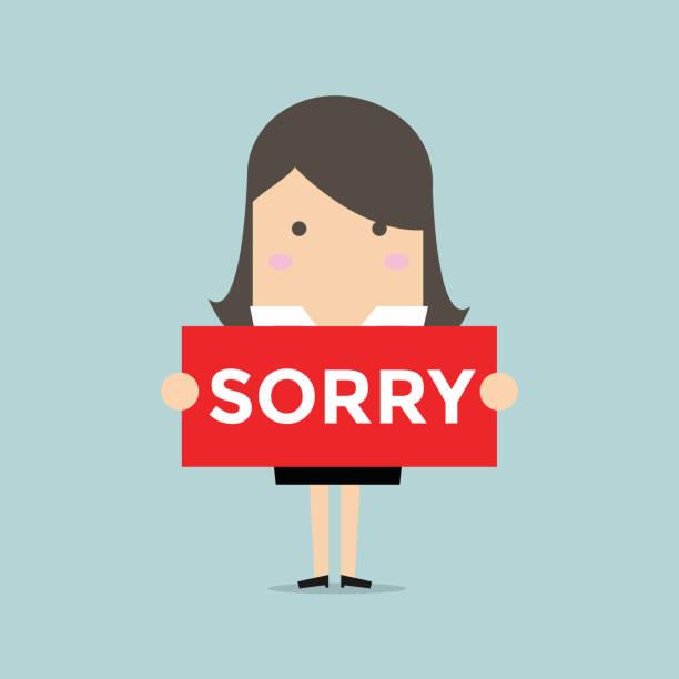 0e535c084 Businesswoman hands holding sorry sign. vector art illustration