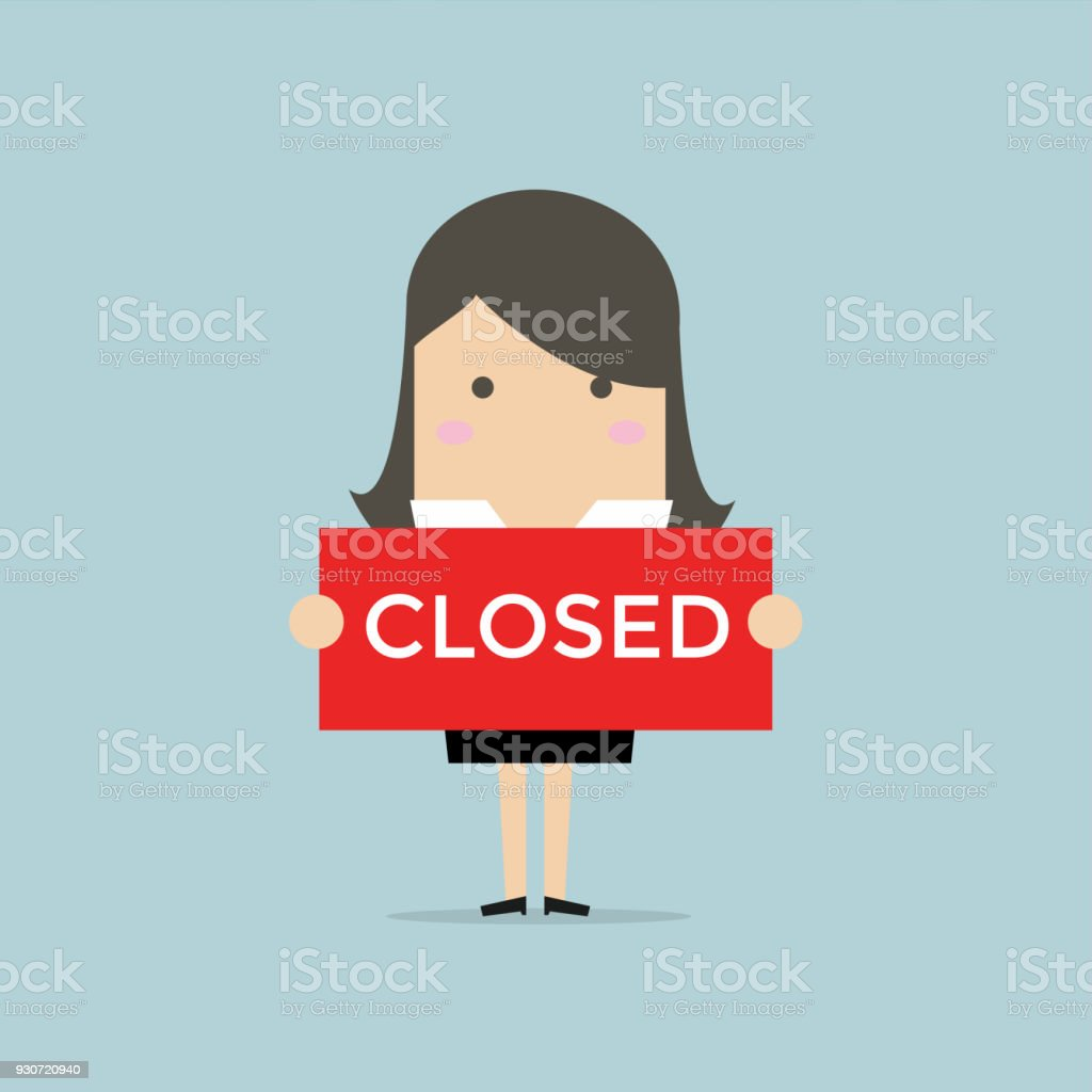Businesswoman hold a sign Closed in her hands. vector art illustration