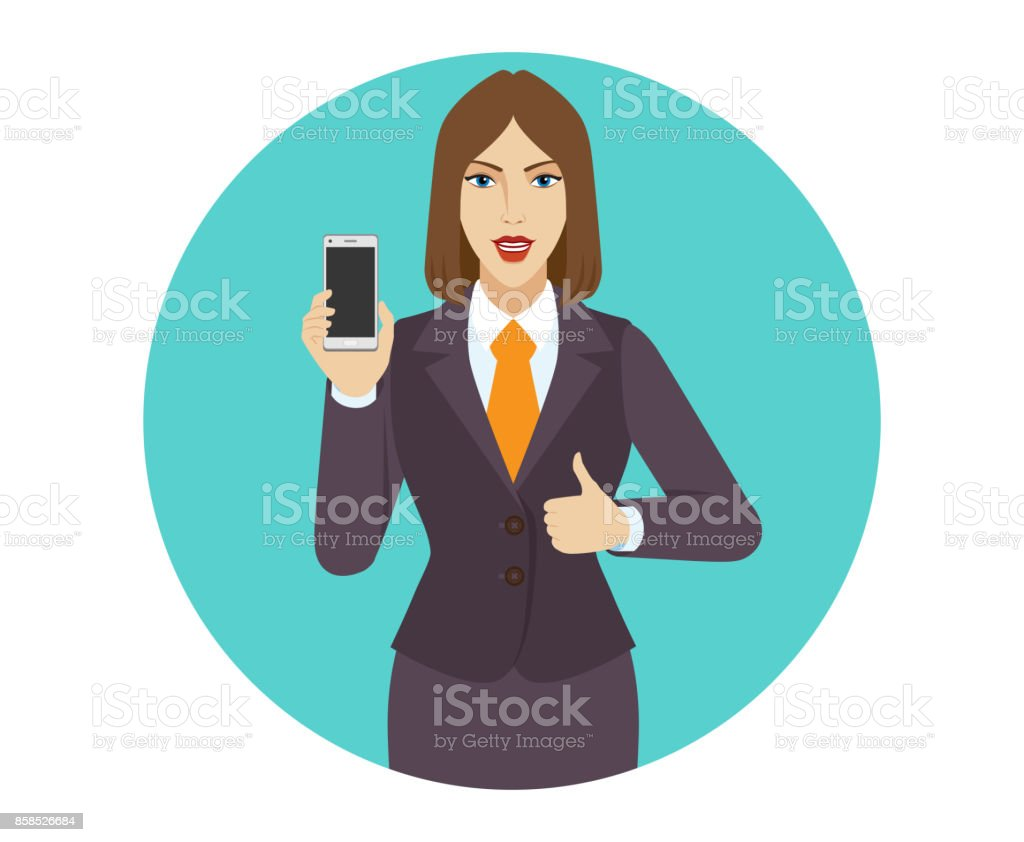 Businesswoman holding a mobile phone and shows thumb up vector art illustration