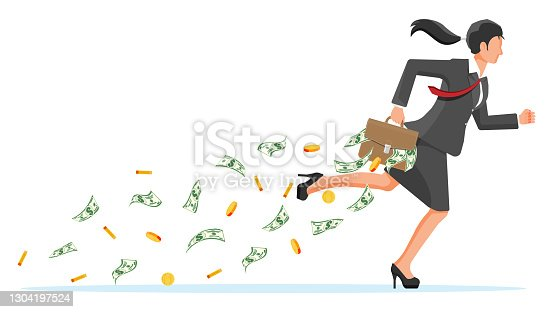 istock Businesswoman holding briefcase full of money. 1304197524
