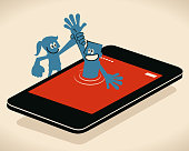 Blue Little Guy Characters Vector art illustration.Copy Space. Businesswoman holding businessman's hand to climb out of smart phone.