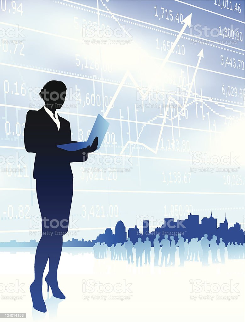 businesswoman holding computer laptop internet background with city and stocks royalty-free stock vector art