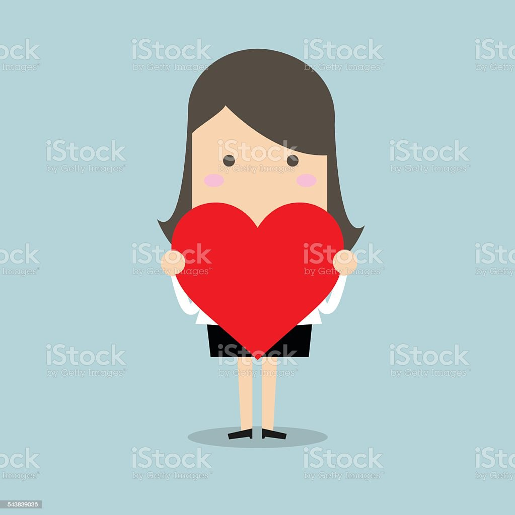 Businesswoman holding heart shape vector art illustration