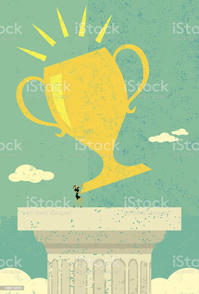 Businesswoman holding her trophy royalty-free stock vector art