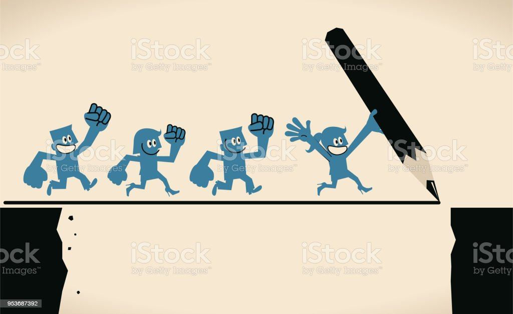 Businesswoman holding large pencil and drawing a line bridge and running leading group of businessmen to cross cliff, teamwork cooperation and way to success concept vector art illustration