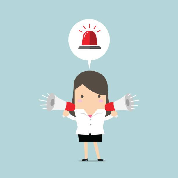 Businesswoman holding megaphone with siren in speech bubble. Emergency concept. vector vector art illustration
