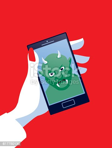 Trolling! A stylized vector cartoon of a business women using a Mobile Phone with a troll and suggesting trolling, hacking, technology, online security, or harassment. Hand, tablet, troll, and background are on different layers for easy editing. Please note: this is an eps 10 illustration and clipping masks have been used.