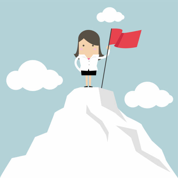 Royalty Free Cartoon Of A Woman Standing Mountain Top Clip ...