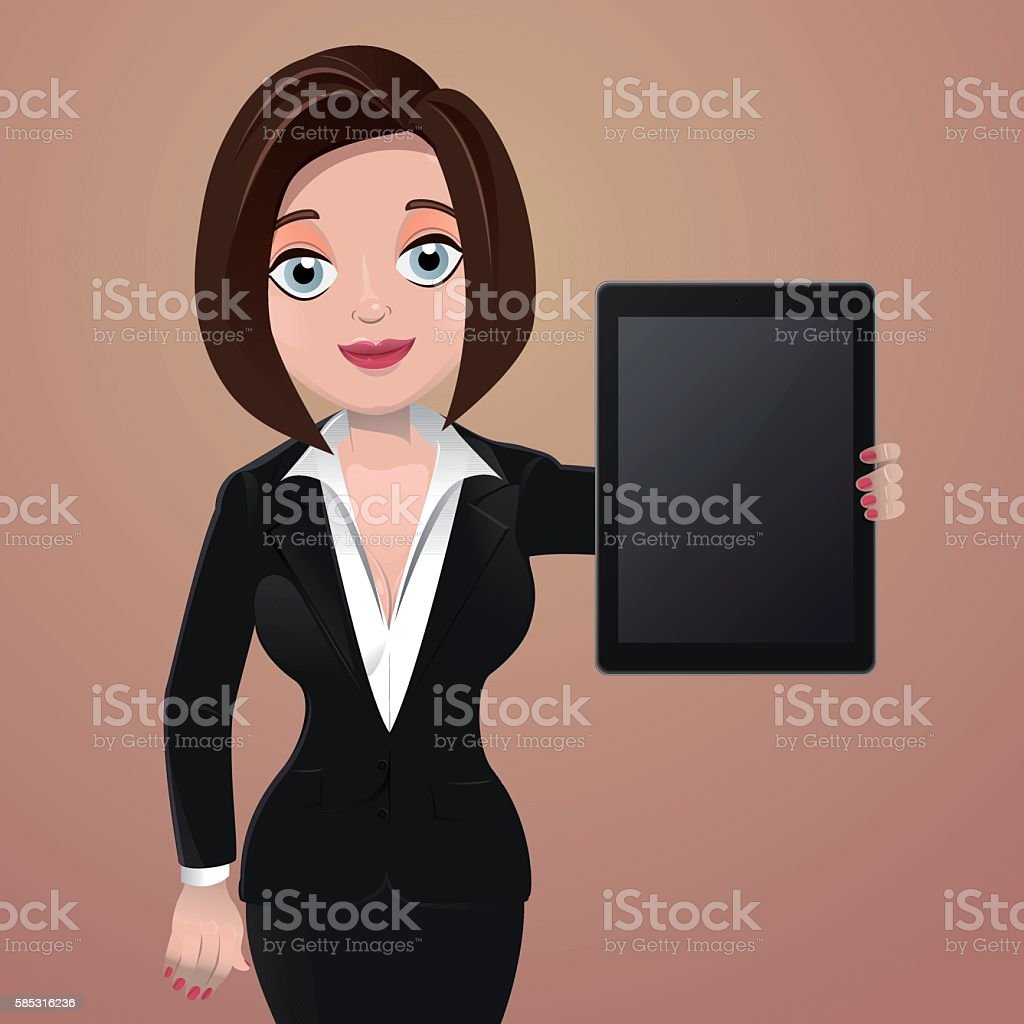 Businesswoman holding tablet vector art illustration