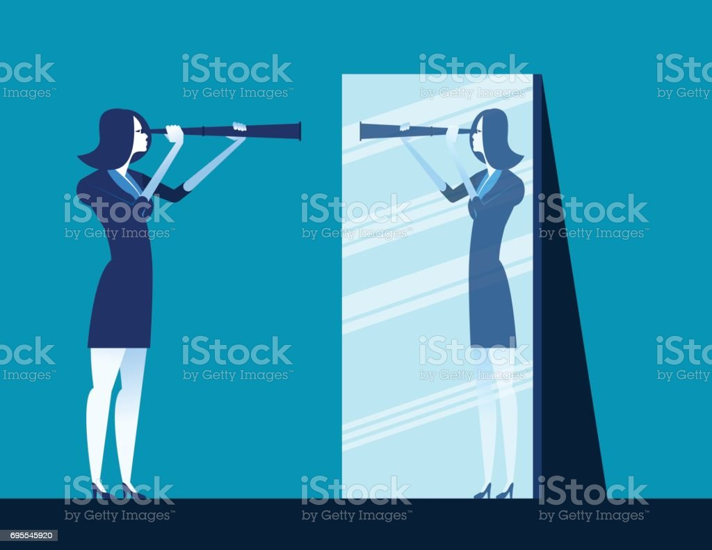 Businesswoman holding telescope and reflecting in mirror. Concept business vector illustration. vector art illustration