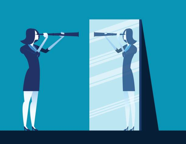 illustrations, cliparts, dessins animés et icônes de femme d'affaires détenant le télescope et reflétant dans le miroir. illustration vectorielle de concept entreprise. - abstract mirror