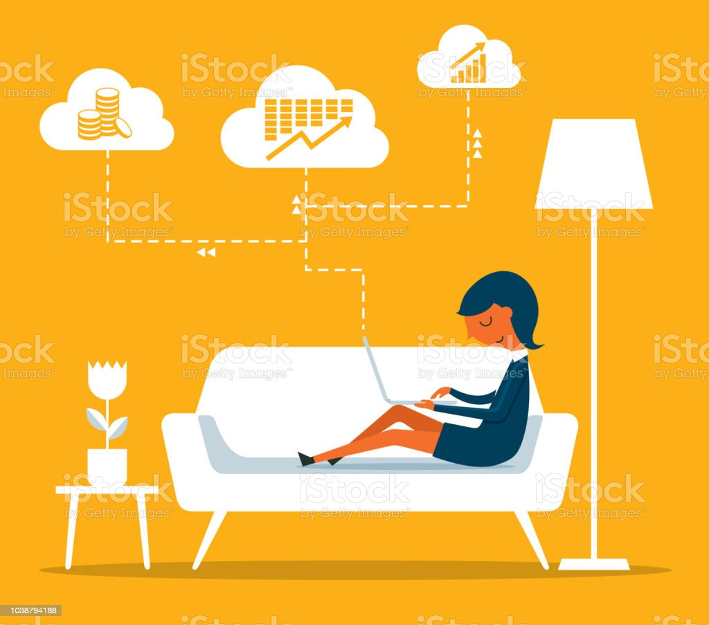 Zakenvrouw - Homeoffice - Royalty-free Bankieren vectorkunst