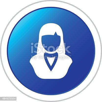 istock Businesswoman icon on a round button. 484923334