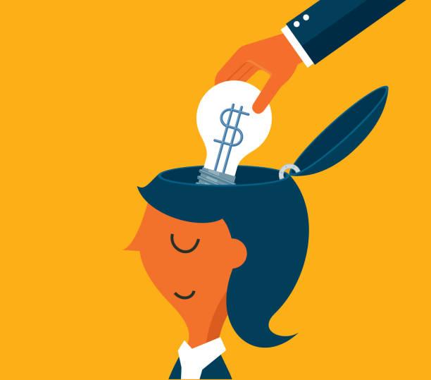 businesswoman - idea light bulb - entrepreneurship stock illustrations