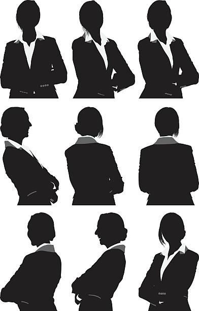 illustrazioni stock, clip art, cartoni animati e icone di tendenza di donna d'affari in vista a 360° - ritratto 360 gradi