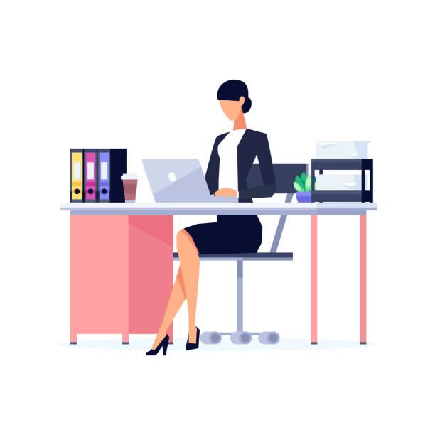 geschäftsfrau in einem flachen stil isoliert auf weißem hintergrund. - chefin stock-grafiken, -clipart, -cartoons und -symbole