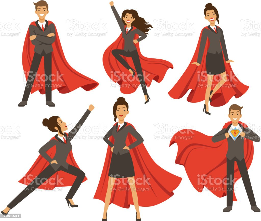 Businesswoman in action poses. Female superhero flying. Vector illustrations in cartoon style vector art illustration