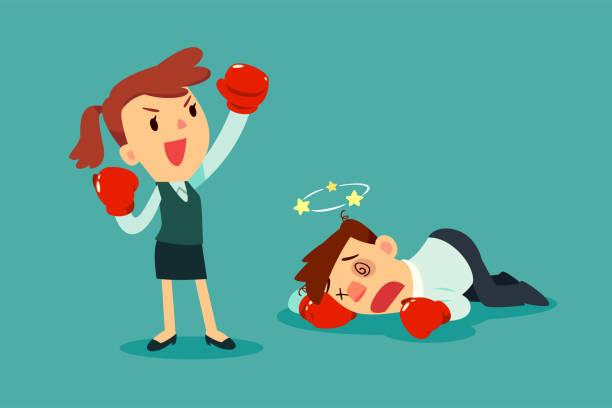 Geschäftsfrau in Boxhandschuhen gewann den Kampf gegen Geschäftsmann – Vektorgrafik