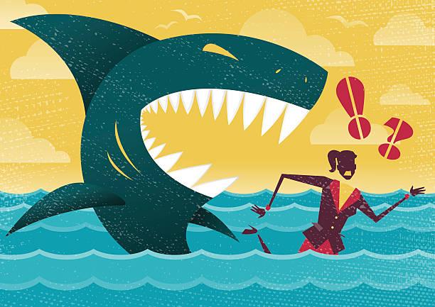 Businesswoman in Dangerous Shark Attack. vector art illustration