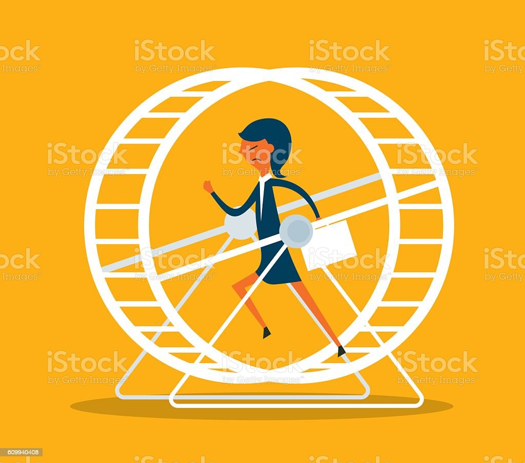 Businesswoman in Hamster Wheel vector art illustration