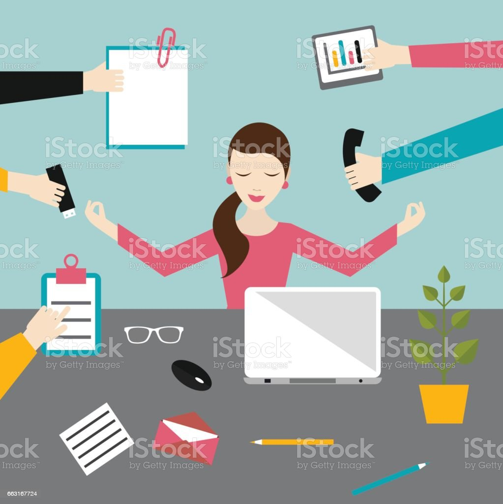 Geschäftsfrau im Lotussitz Meditation im Arbeitsbüro. Multitasking-Konzept. – Vektorgrafik