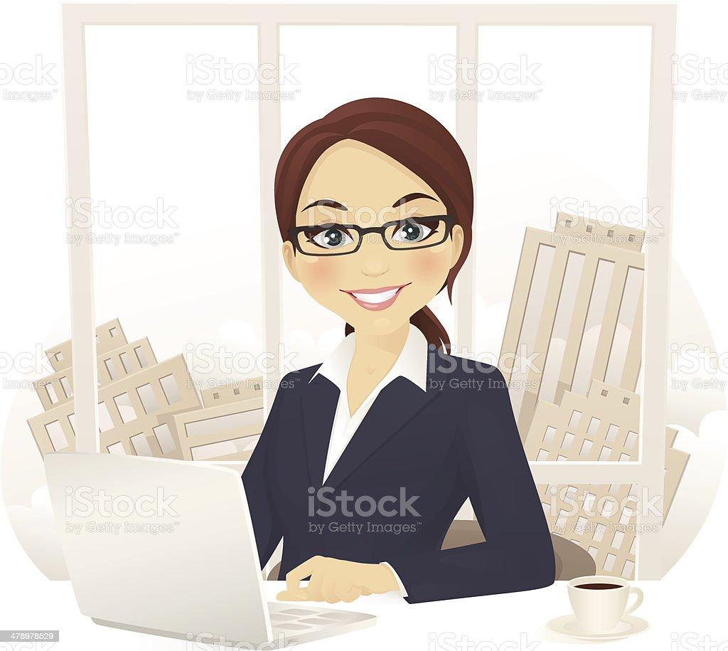 Businesswoman in office vector art illustration