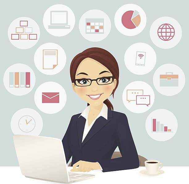 ilustraciones, imágenes clip art, dibujos animados e iconos de stock de mujer de negocios en oficina - ejecutiva