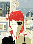 Take a break! A stylized vector cartoon of a business woman at the office and on the beach, reminiscent of an old screen print poster and suggesting vacations, beside the sea, relaxation, escape or seaside. Woman, beach, office, window, paper texture, and background are on different layers for easy editing. Please note: this is an eps 10 illustration and clipping masks have been used.