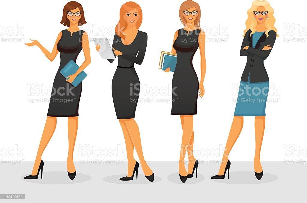 Businesswoman in various poses vector art illustration