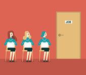 Businesswomen searching for job. Concept business illustration.