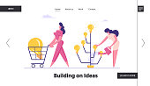 Businesswoman Inventor Growing Idea Tree with Glowing Light Bulbs Website Landing Page. Happy Business Woman Pushing Shopping Cart with Huge Lamp Web Page Banner. Cartoon Flat Vector Illustration