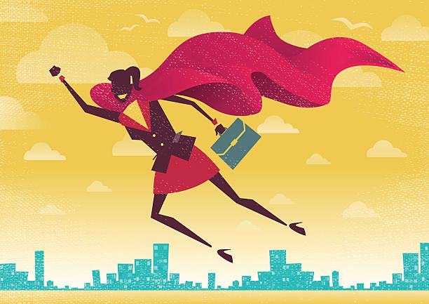 Businesswoman is a Superhero. vector art illustration