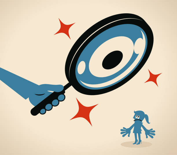 Businesswoman is being watched by a big magnifying glass with eyes vector art illustration