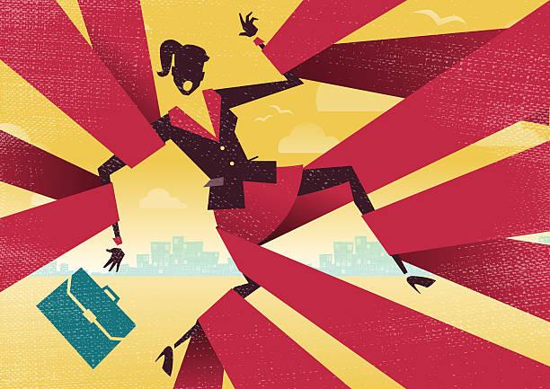 Businesswoman is caught up in Bureaucratic Red Tape. vector art illustration