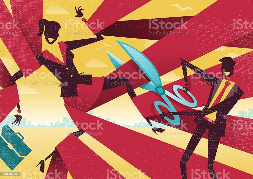 Businesswoman is cut Free from bureaucratic red tape. vector art illustration