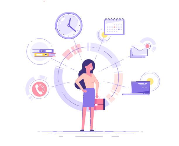 die geschäftsfrau steht und hält aktentasche mit bürosymbolen im hintergrund. multitasking- und zeitmanagement-konzept.  effektives management. vektor-illustration. - fähigkeit stock-grafiken, -clipart, -cartoons und -symbole