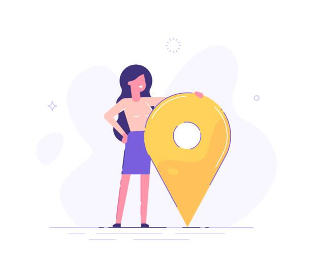 illustrazioni stock, clip art, cartoni animati e icone di tendenza di businesswoman is standing close to big map pointer. our office location. vector illustration. - near