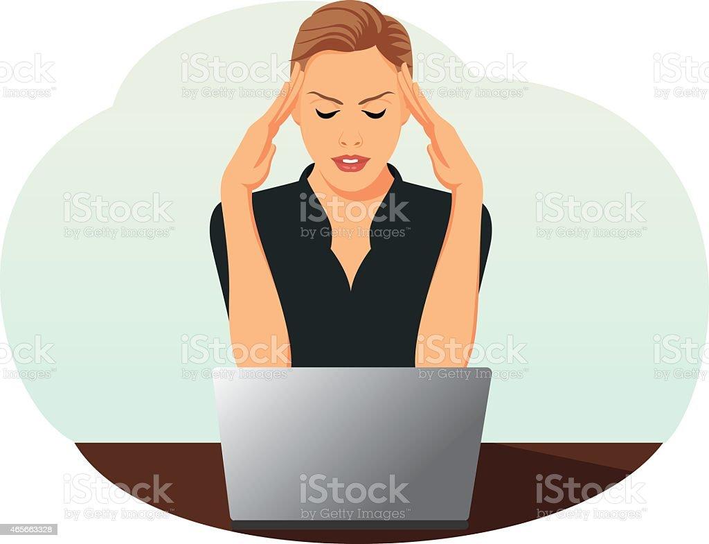 Businesswoman is under stress vector art illustration