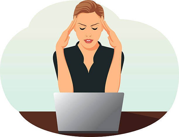 Businesswoman is under stress Overworked business woman is under stress with headache tired woman stock illustrations