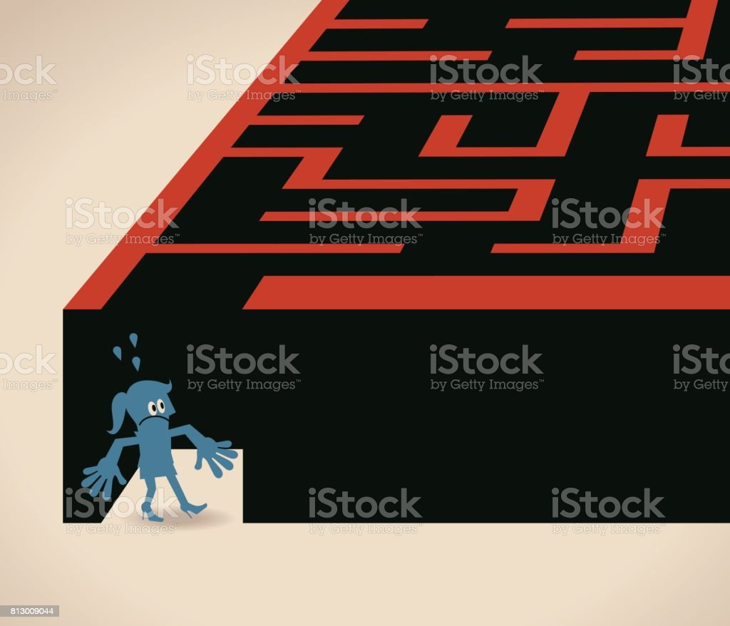 Businesswoman (woman, girl) is walking into a maze (standing at entrance looking into a maze) vector art illustration