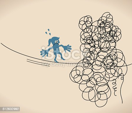 Blue Characters Full Length Vector art illustration.Copy Space.Simplicity and Silhouette.