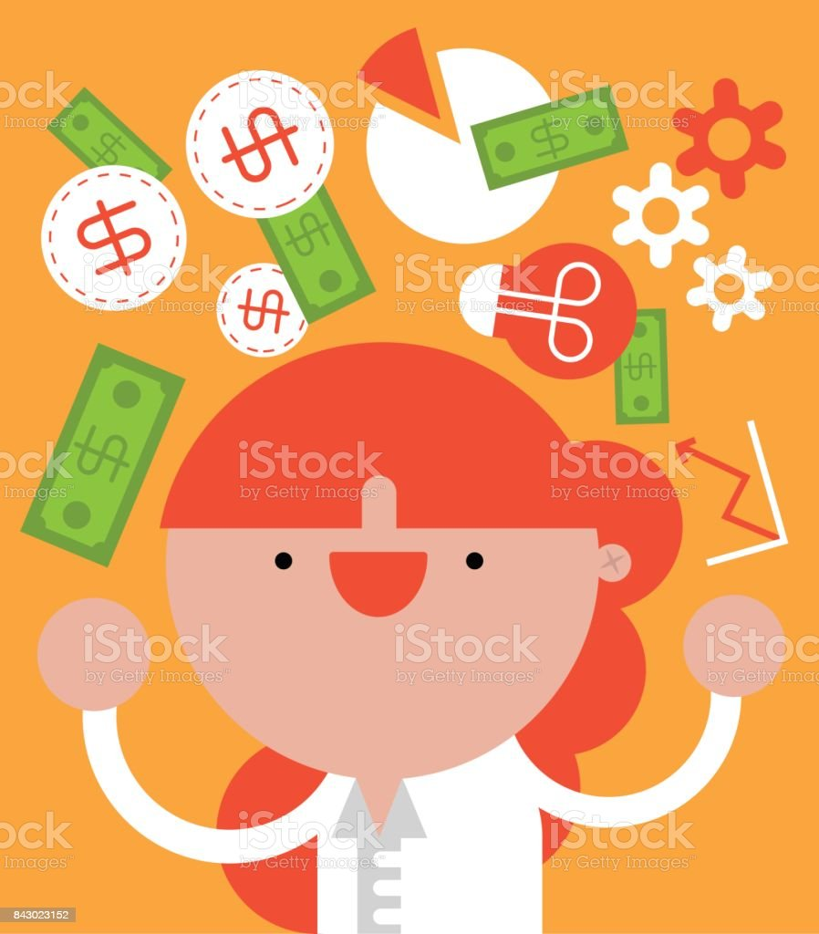 Businesswoman Juggling Business and Work Related Icons and Looking at the camera while she smiles