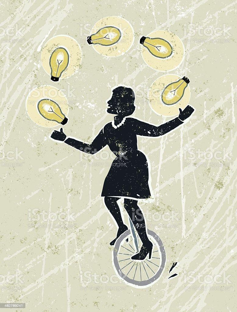 Businesswoman Juggling Idea Light Bulbs on Unicycle vector art illustration