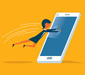 Businesswoman jump into the phone screen inside stock illustration