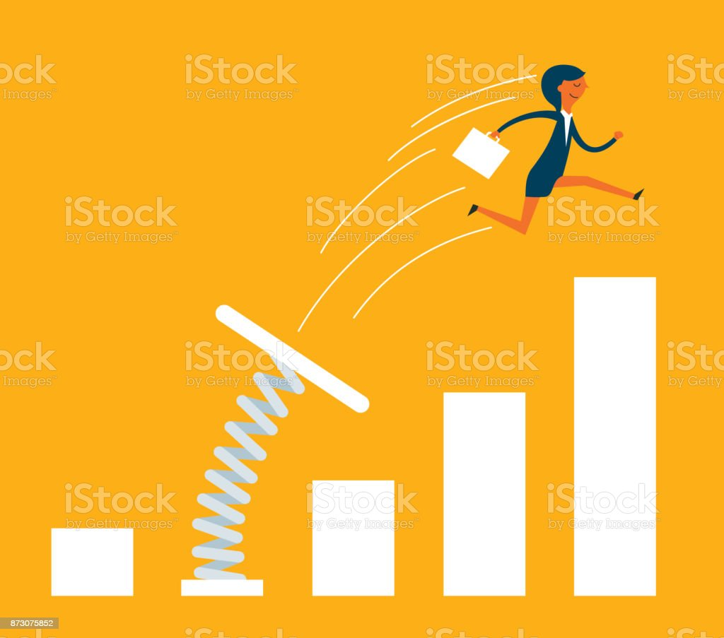 Businesswoman jumping from springboard