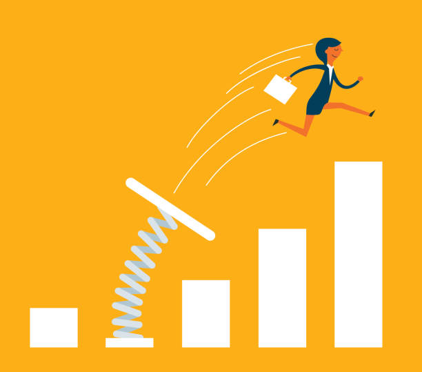 Businesswoman jumping from springboard Growing Business jumping stock illustrations