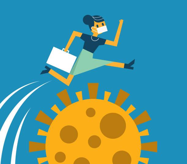 Businesswoman jumping vector art illustration