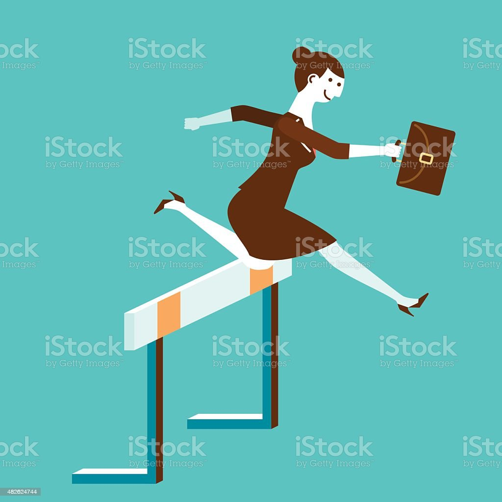 Businesswoman Jumps Over Hurdle | New Business Concept vector art illustration